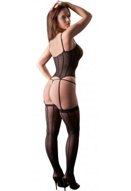 Guepiere set a righe perizoma e calze intimo sexy