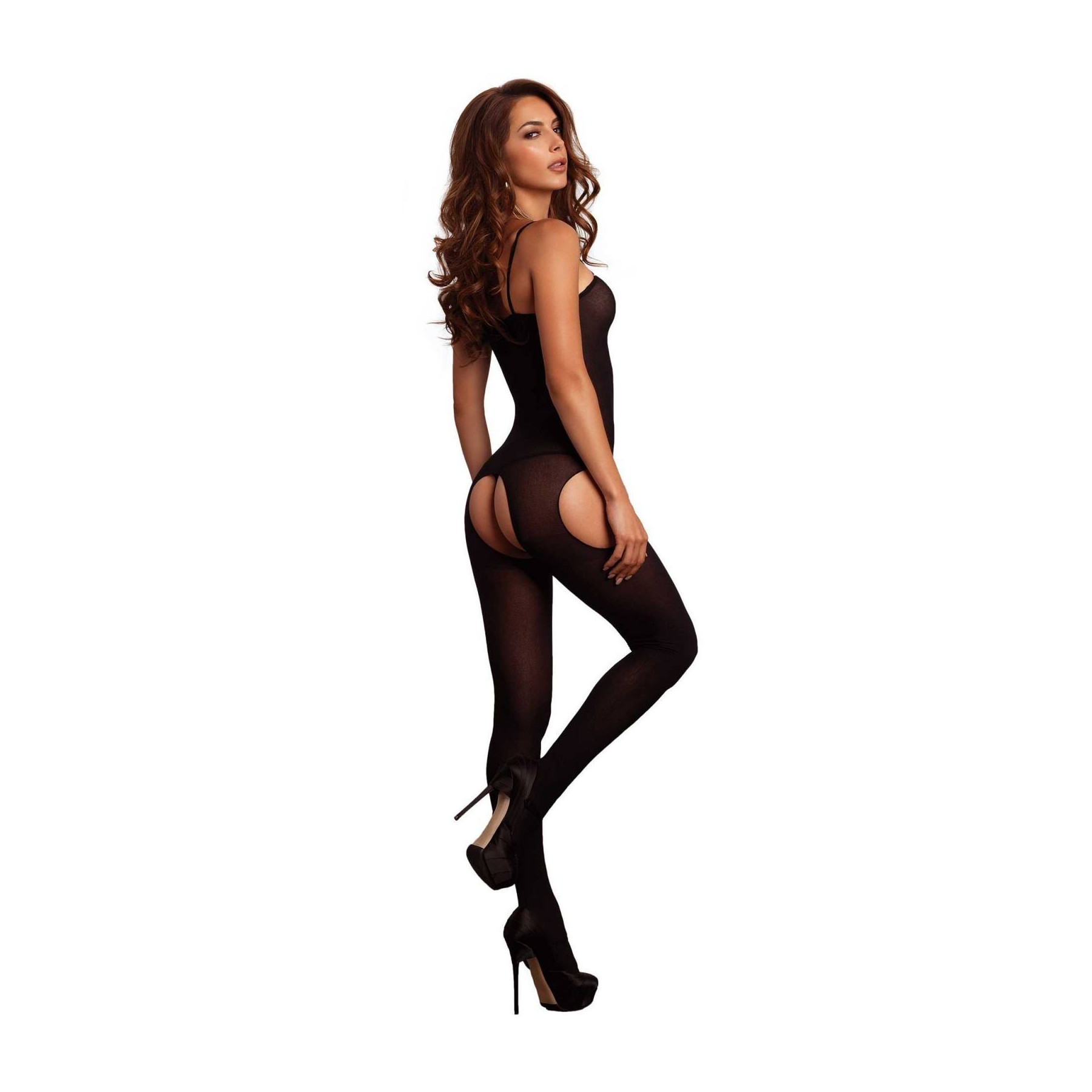 Bodystocking ouvert in tessuto opaco Leg Avenue