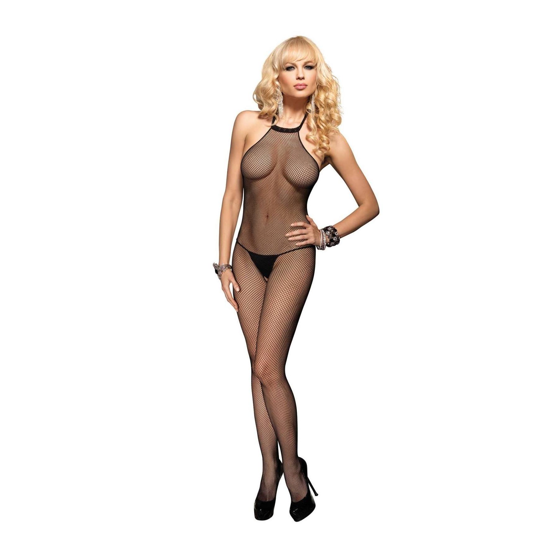 catsuit nero sexy tutina in rete leg avenue
