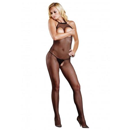 Sexy Catsuit in microrete con seno scoperto