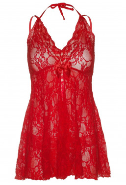 Chemise Babydoll in pizzo rosso Leg Avenue
