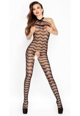 Sexy tuta in rete zig zag catsuit ouvert