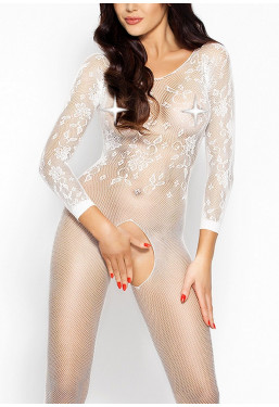 Catsuit bianco ouvert maniche lunghe