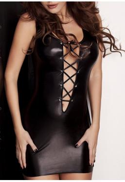 Vestito nero lucido Lizzy con scollatura stringata