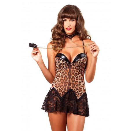 Sottoveste leopardata con collare e catene