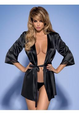 Vestaglia in elegante raso nero lucido Satinia