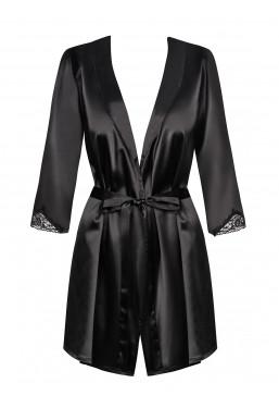 Vestaglia in elegante raso nero Satinia