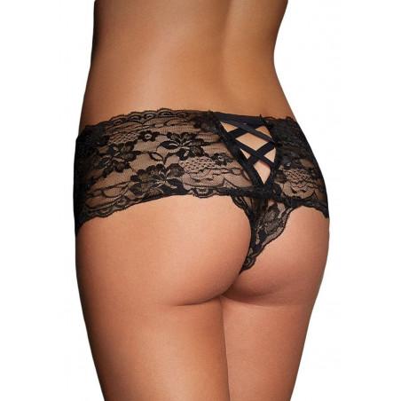 Culottes in pizzo nero con retro stringato intimo sexy