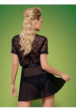 Vestaglia in pizzo nero con Slip Swanita Obsessive