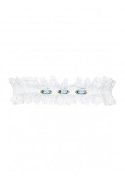 Giarrettiera bianca Swanita con roselline intimo sposa