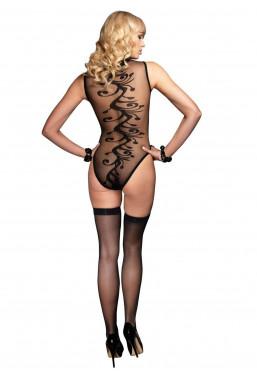Body Velato fantasia ondulata e calze coordinate