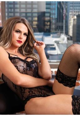 Sexy body nero in rete ricamata e pizzo