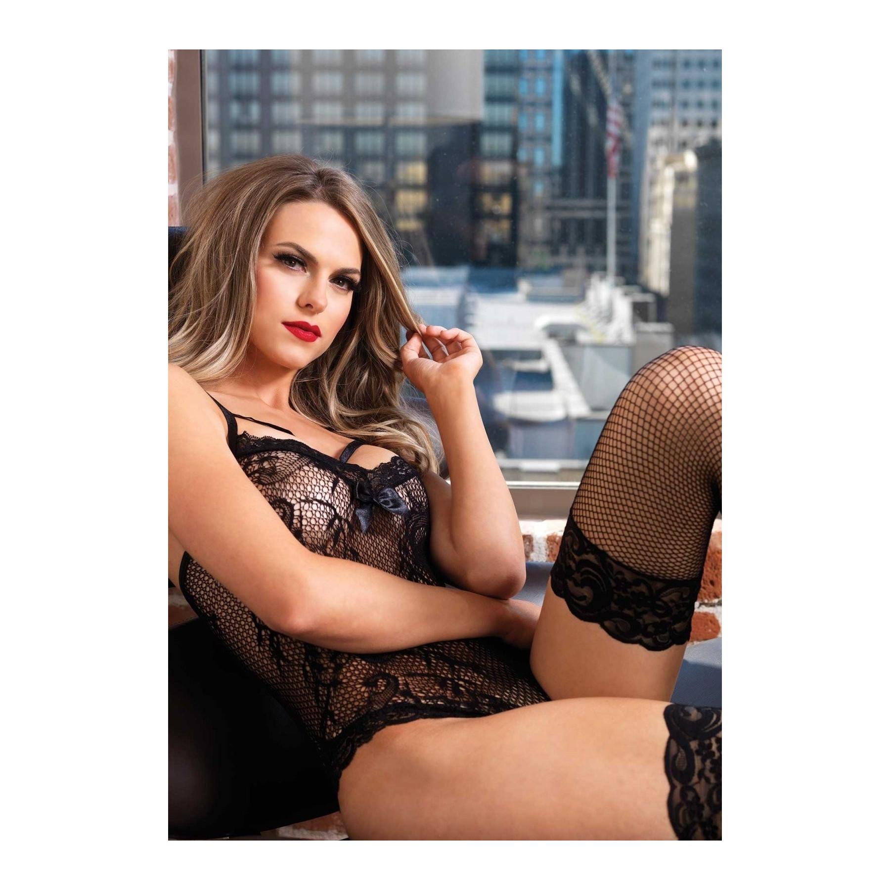 Sexy body nero in rete ricamata e pizzo Leg Avenue