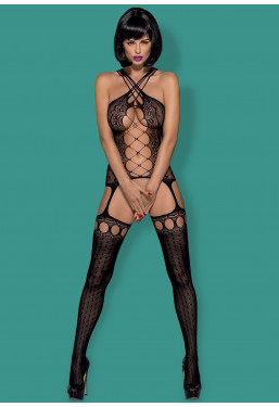 Bodystocking nero stringato con spalline incrociate
