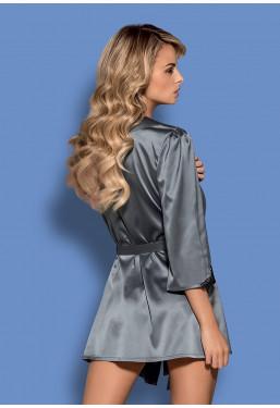 Vestaglia in elegante raso grigio Satinia