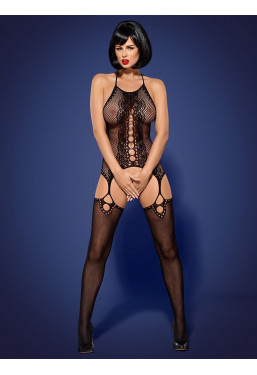 Bodystocking nero scollo all'americana schiena scoperta