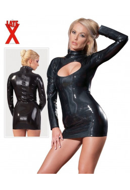 Mini abito in Latex nero cut-out vestito in lattice