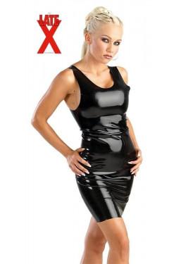 Mini abito in lattice nero Latex Dress