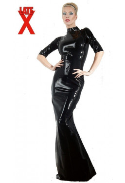 Vestito lungo in lattice nero Latex Dress