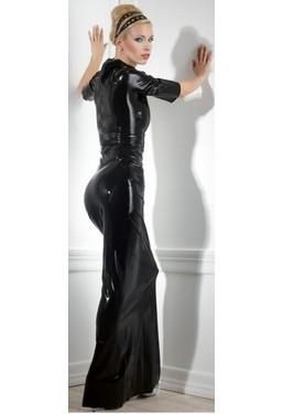 Vestito lungo in lattice nero Latex Dress