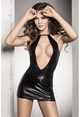 Sexy abito Femi Dress nero lucido effetto bagnato