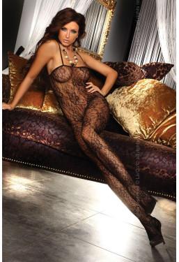 Bodystocking Danae nero fantasia floreale LivCo