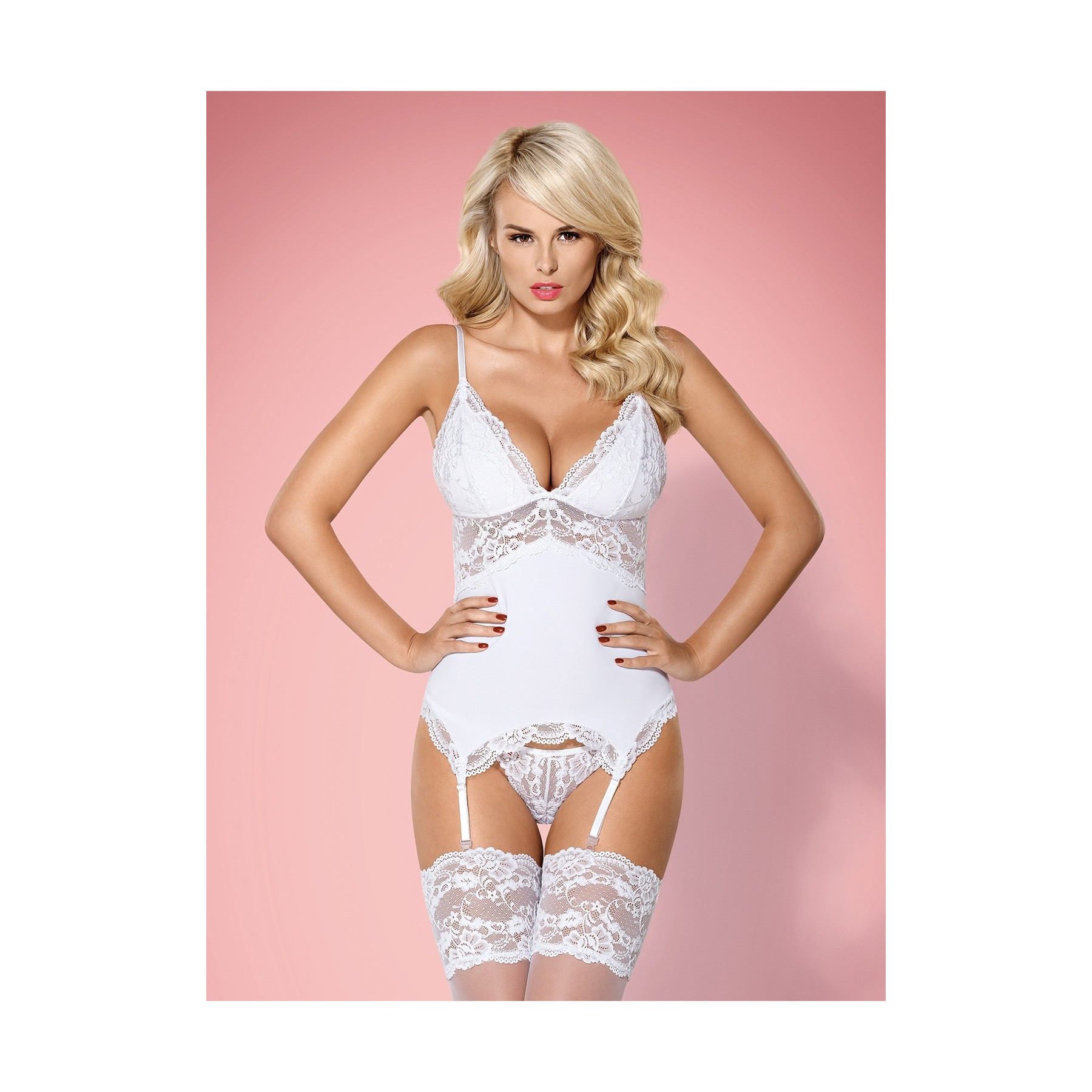 Guepiere in pizzo bianco Obsessive Lingerie