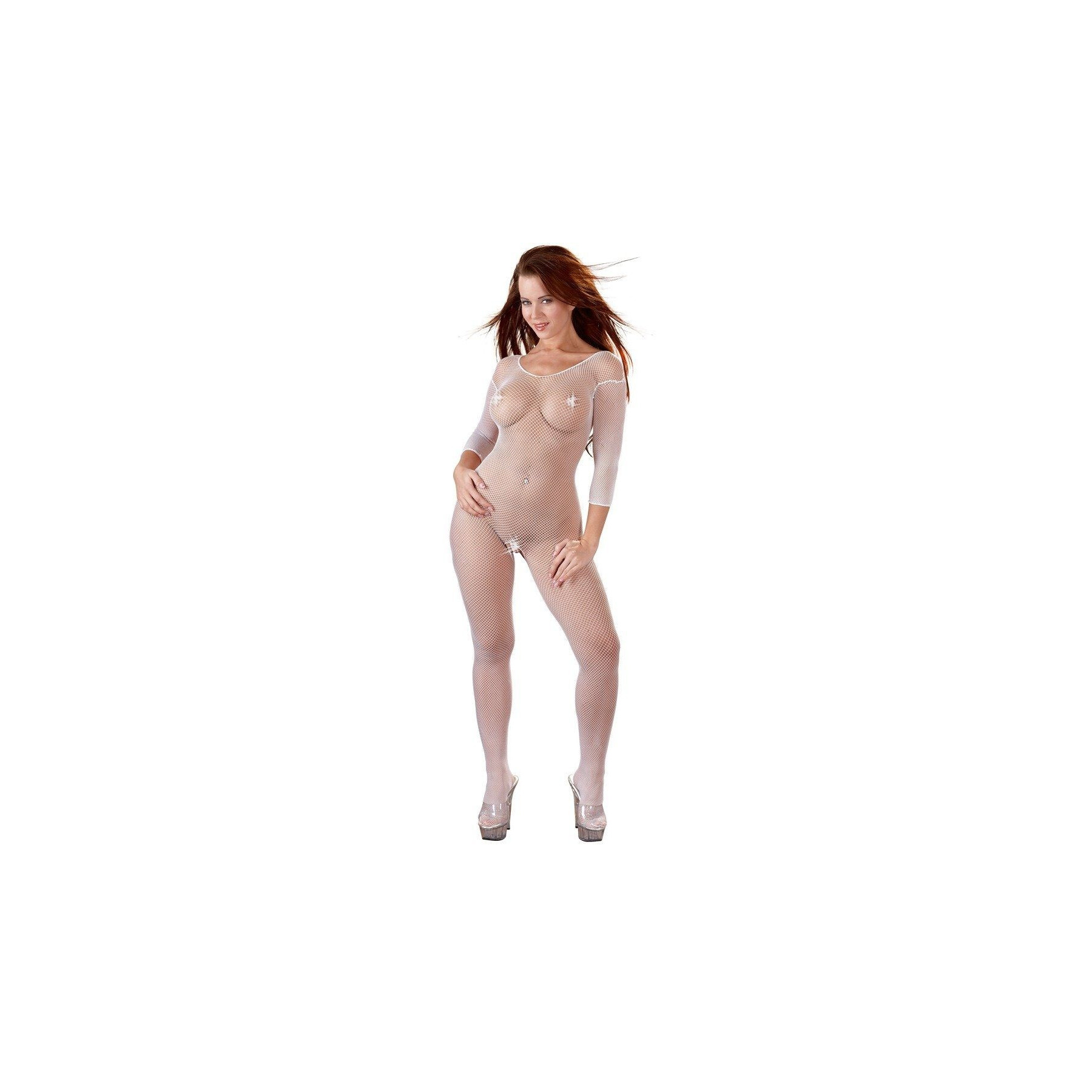 Catsuit bianco Bodystocking rete Mandy Mystery