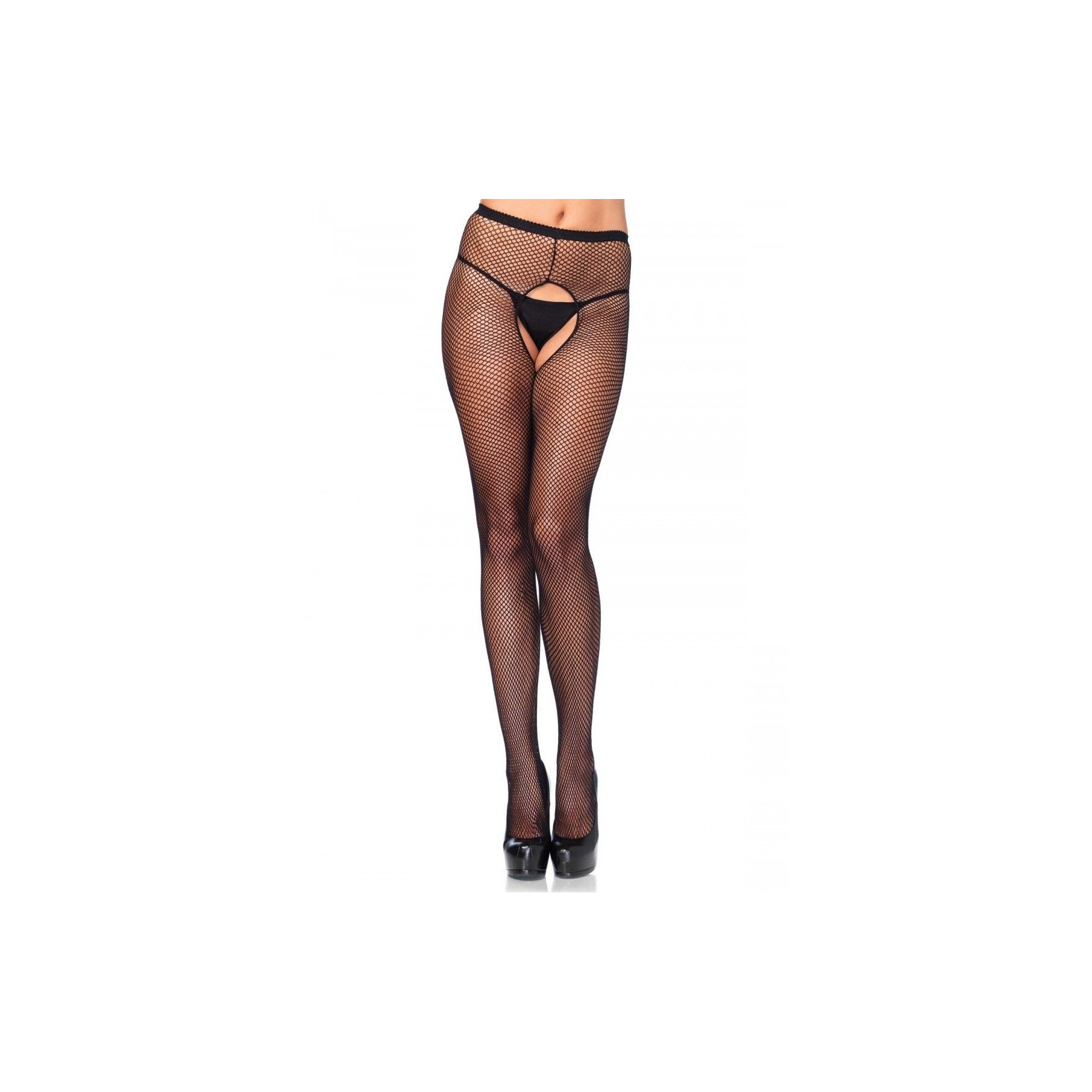 Collant ouvert in rete nera Leg Avenue
