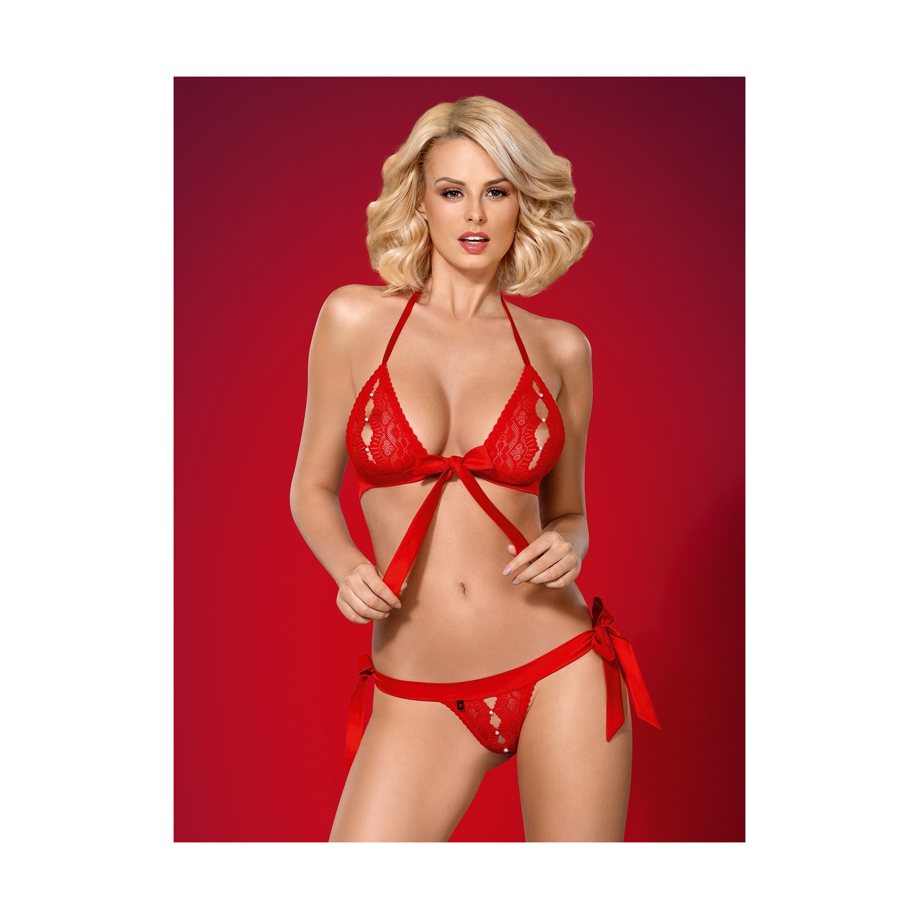 completino intimo in pizzo rosso 822 Obsessive