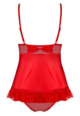 Babydoll rosso in tulle e satin 827 Obsessive Lingerie