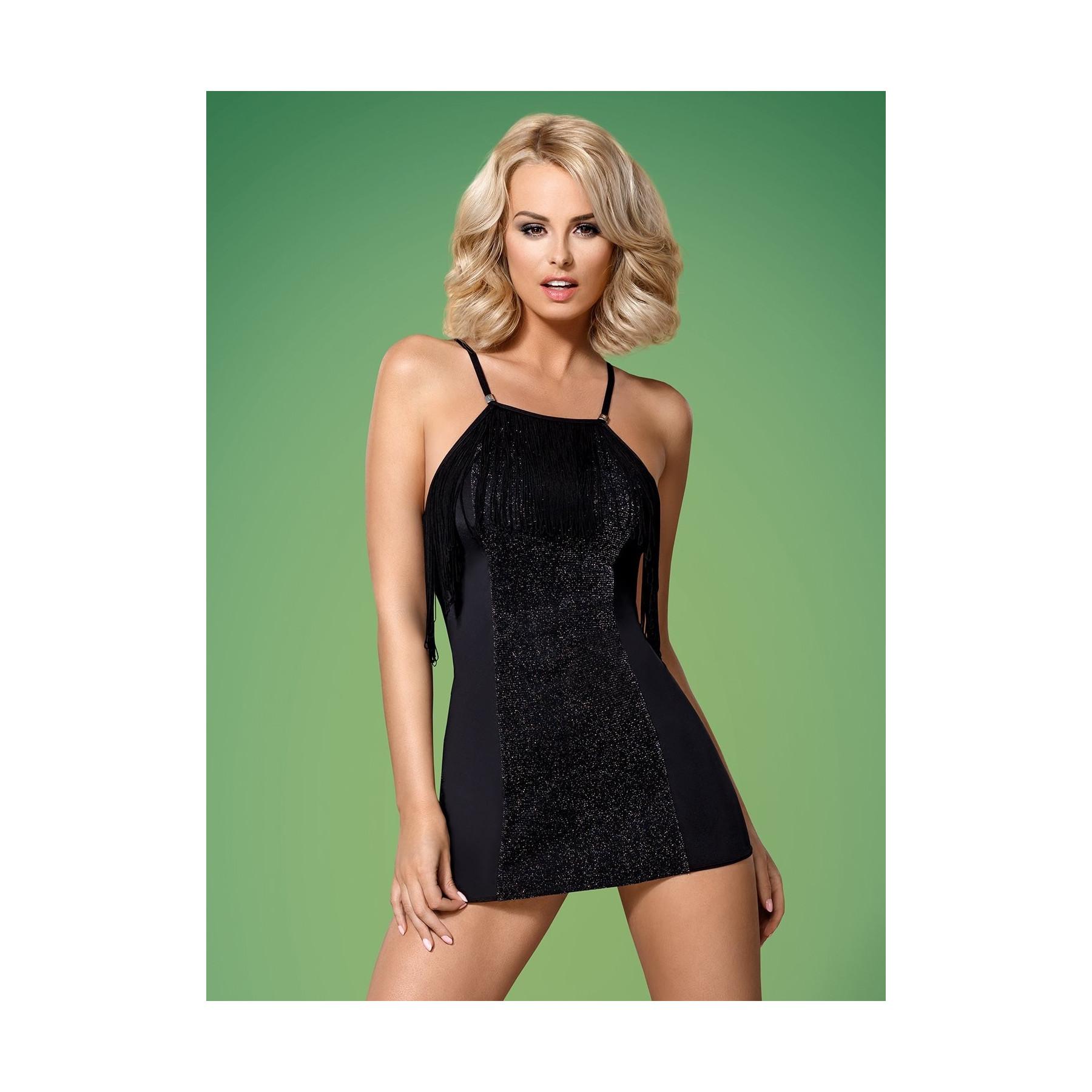Sexy vestito corto nero lurex e frange Obsessive