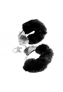 Manette in metallo pelliccia ecologica nera Pipedream