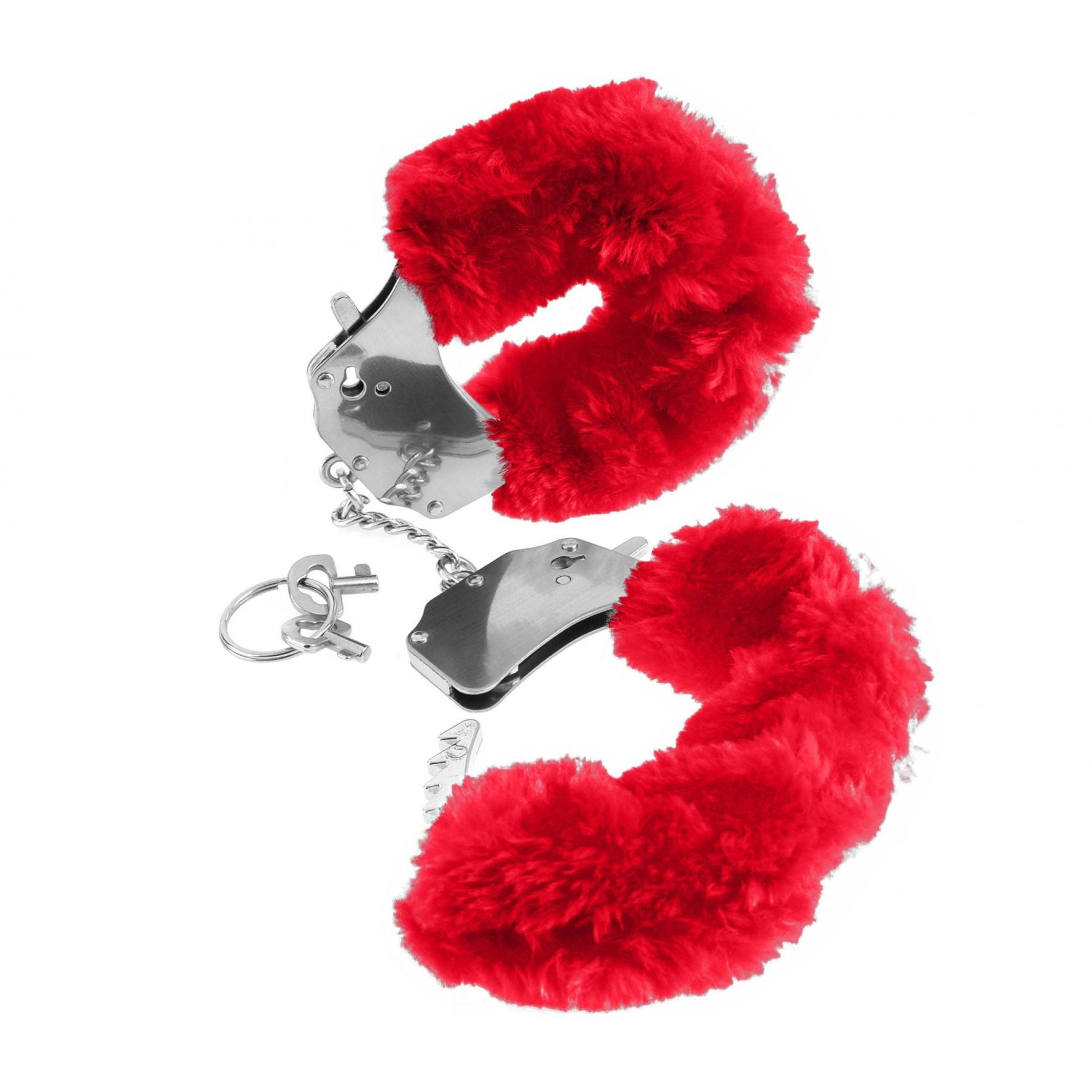 Manette in metallo eco pelliccia rossa