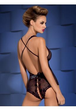 Body intimo nero aperto con perle Obsessive Lingerie