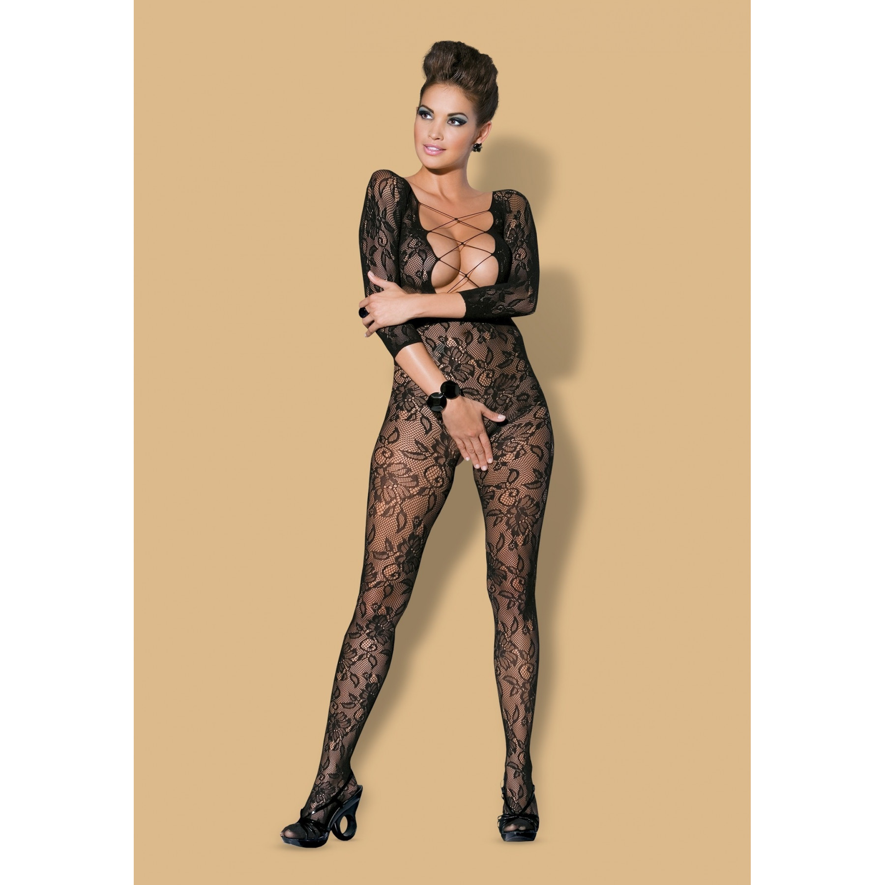 Bodystocking in pizzo nero di Obsessive Lingerie