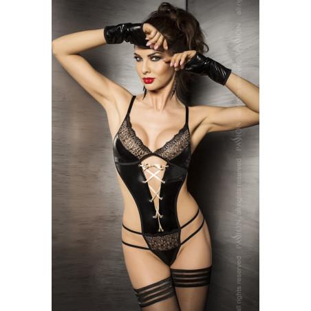 Sexy body intimo nero lucido Agawa di Passion Lingerie