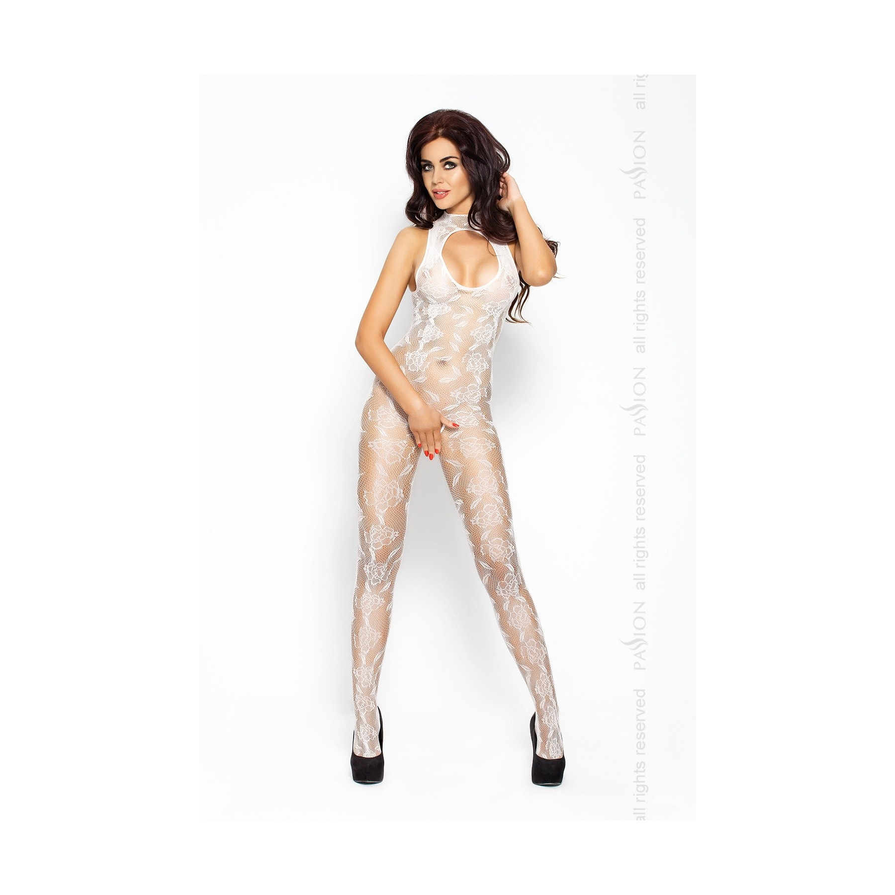 Bodystocking bianco con fantasia floreale Passion Lingerie