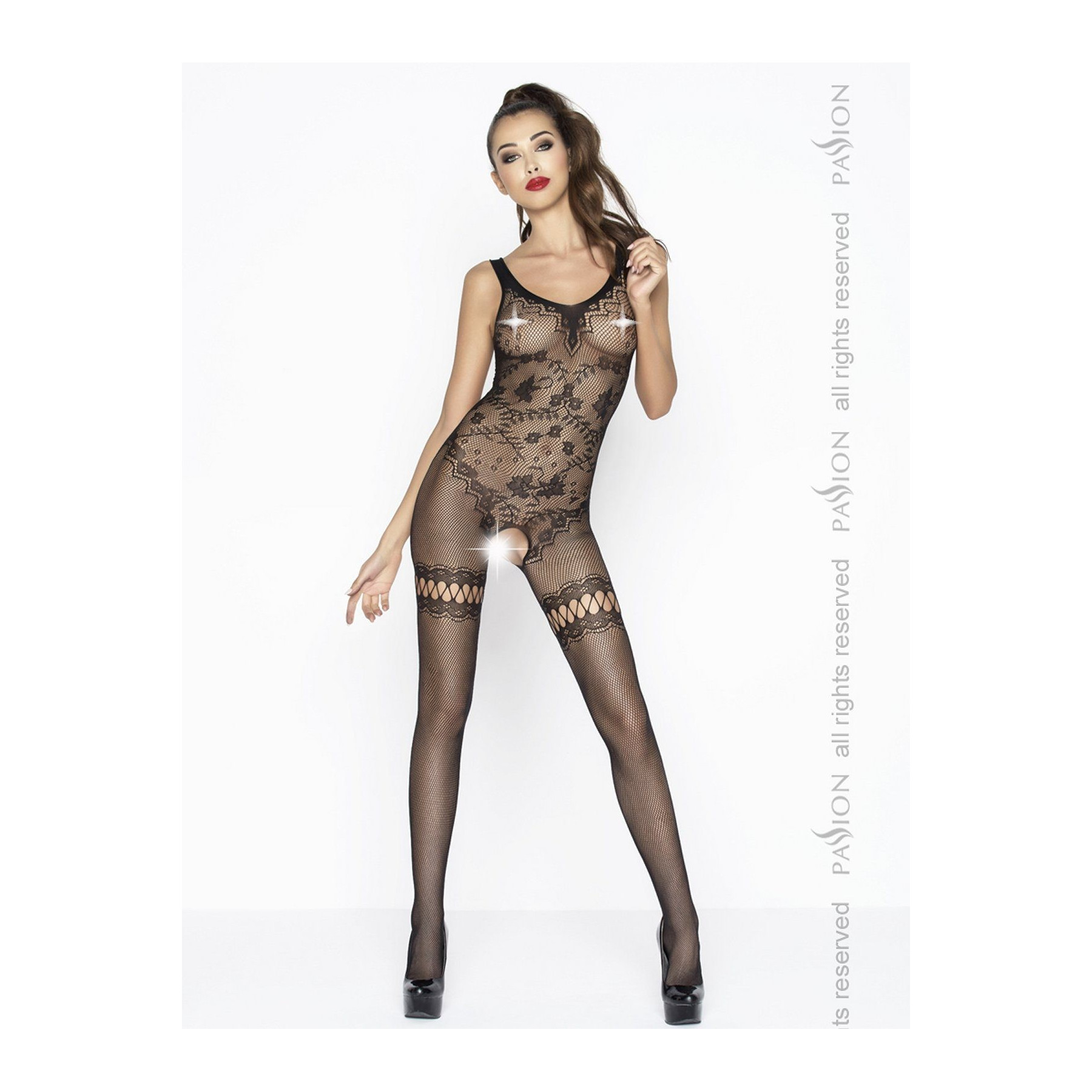 Sexy bodystocking nero floreale catsuit Passion Lingerie