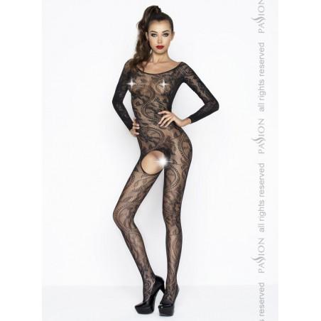 Sexy bodystocking aperto nero maniche lunghe catsuit Passion Lingerie