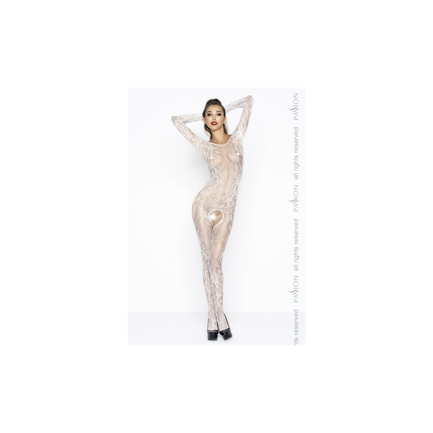 Sexy bodystocking bianco con apertura all'inguine Passion Lingerie