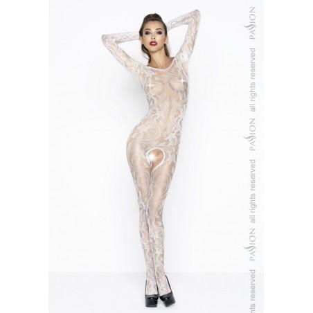 Sexy bodystocking aperto bianco maniche lunghe catsuit Passion Lingerie