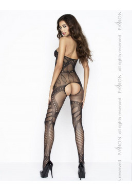 Bodystocking nero aperto con scollo all'americana Passion Lingerie