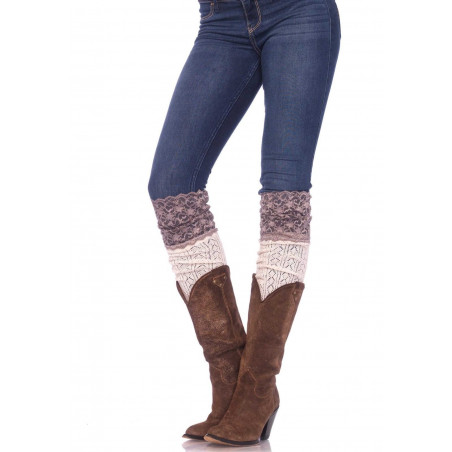 Calze scaldamuscoli maglia bianca crochet e pizzo Leg Avenue