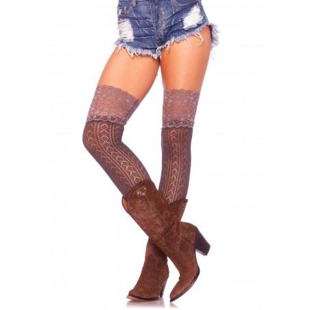 Calze scaldamuscoli maglia grigia crochet e pizzo Leg Avenue