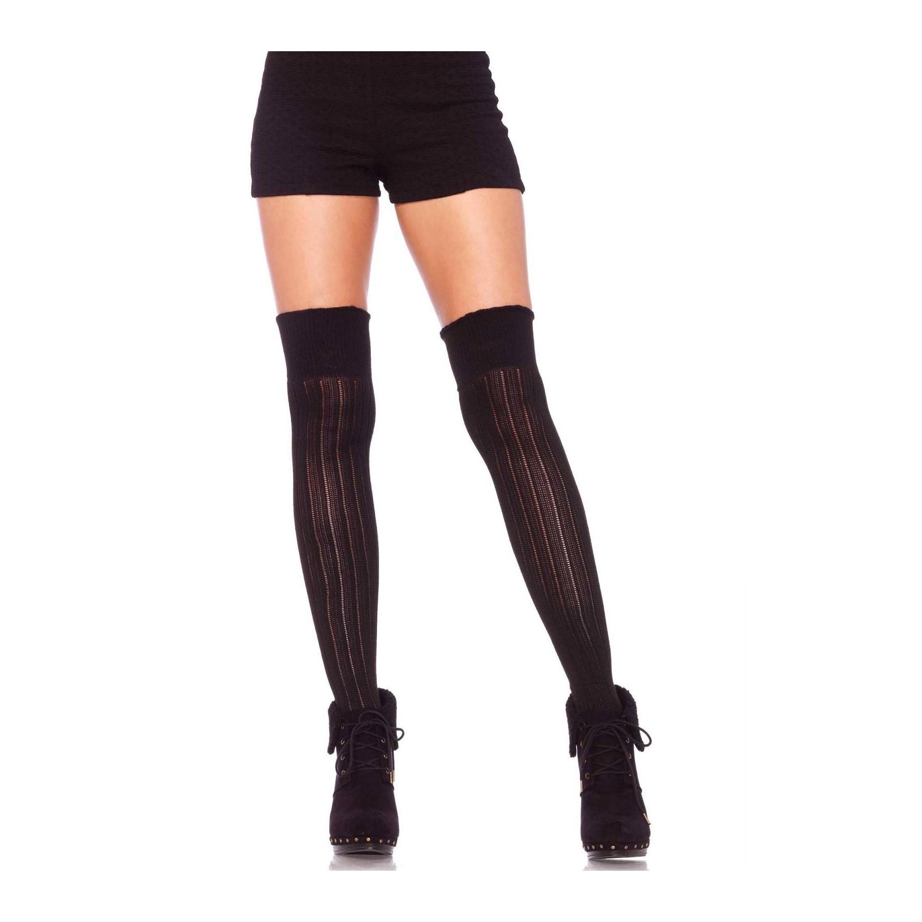 Parigine traforate calze nere sopra al ginocchio Leg Avenue