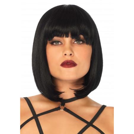 Parrucca nera caschetto corto con frangia Leg Avenue