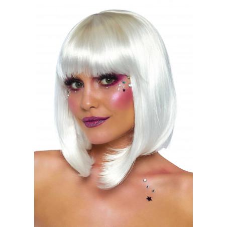 Parrucca corta a caschetto bianco con frangia Leg Avenue