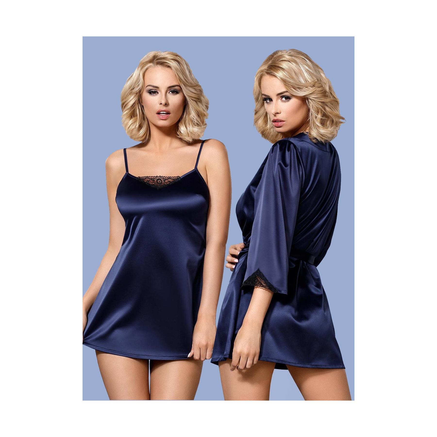 Offerta Sottoveste con Vestaglia blu Satinia S/M Obsessive Lingerie