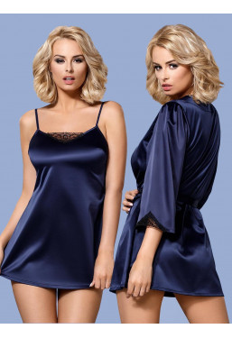Offerta Sottoveste con Vestaglia blu Satinia L/XL Obsessive Lingerie